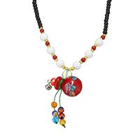 Ожерелья лемпворк, Лэмпворк, с Морской опал & Стеклянный & Латунь, Форма тыквы, Другое покрытие, Женский, 33x18x18mm, 4.5x3.5x4.5mm, длина:Приблизительно 19 дюймовый, 5пряди/Лот, продается Лот