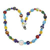 Ожерелья лемпворк, Лэмпворк, с Морской опал & Латунь, Платиновое покрытие платиновым цвет, Женский, 13.5x14x14mm, 10mm, длина:Приблизительно 17 дюймовый, 5пряди/Лот, продается Лот