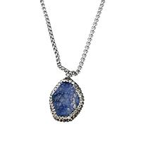 Ожерелье из агата, нержавеющая сталь, с клей & Агат, натуральный, прямоугольник цепь & Женский, оригинальный цвет, 19x28x15mm, 2.5x2.5x1.5mm, длина:Приблизительно 17 дюймовый, 10пряди/Лот, продается Лот