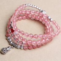 розовый кварц браслет, с красный агат & Белый агат & цинковый сплав, Форма тыквы, плакированный цветом под старое серебро, природный & Женский & 4-стренги, 6mm, длина:Приблизительно 22 дюймовый, 2пряди/сумка, продается сумка
