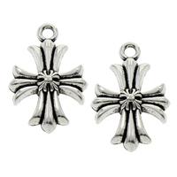 Zinc Alloy Cross Pendants, fleur-de-lis cross, antique silver color plated, lead & cadmium free, 15x23x3mm, Hole:Approx 2mm, 100PCs/Bag, Sold By Bag