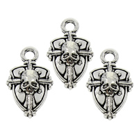 Zinc Alloy Cross Pendants, Skull Cross, antique silver color plated, lead & cadmium free, 12x19x3mm, Hole:Approx 2mm, 100PCs/Bag, Sold By Bag