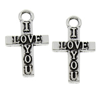 Zinc Alloy Cross Pendants, word I love you, antique silver color plated, with letter pattern, lead & cadmium free, 12x20x2mm, Hole:Approx 2mm, 100PCs/Bag, Sold By Bag