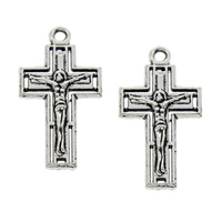 Zinc Alloy Cross Pendants, Crucifix Cross, antique silver color plated, Christian Jewelry, lead & cadmium free, 13x25x2mm, Hole:Approx 1.5mm, 100PCs/Bag, Sold By Bag