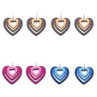 деревянный Сережка, железо крюк, Сердце, Много цветов для выбора, 70x80mm, продается Пара