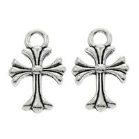 Zinc Alloy Cross Pendants, fleur-de-lis cross, antique silver color plated, lead & cadmium free, 12x20x3mm, Hole:Approx 2mm, 100PCs/Bag, Sold By Bag