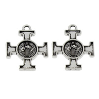 Zinc Alloy Cross Pendants, Crucifix Cross, antique silver color plated, Christian Jewelry & with letter pattern, lead & cadmium free, 18x22x2.50mm, Hole:Approx 1.5mm, 100PCs/Bag, Sold By Bag