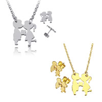 Fashion Stainless Steel Jewelry Sets, earring & necklace, Couple, plated, oval chain, more colors for choice, 15x17.5x1.5mm, 2x2.5x0.5mm, 10x11x12mm, Length:Approx 22 Inch, Sold By Set