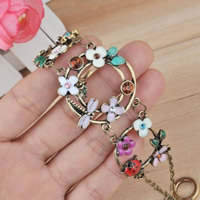 Zinc Alloy Bracelet with 5cm extender chain antique silver color plated for woman   enamel   with rhinestone lead   cadmium free 34.3mm Sold Per Approx 6.5 Inch Strand