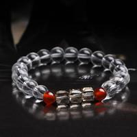 Чистый кварц браслет, с красный агат & Кристаллы, натуральный, Женский & граненый, 8mm, Продан через Приблизительно 6 дюймовый Strand