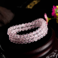 розовый кварц браслет, Круглая, натуральный, Женский & 3-нить, 6mm, Продан через Приблизительно 18 дюймовый Strand