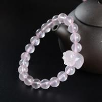 розовый кварц браслет, Свинья, натуральный, Женский, 8mm, длина:Приблизительно 6.5 дюймовый, 3пряди/сумка, продается сумка