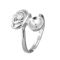 925 Sterling Silver Ring Mountings, Crown, with cubic zirconia, 11x16x5mm, 0.7mm, US Ring Size:6.5, 5PCs/Lot, Sold By Lot