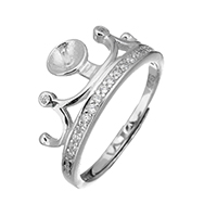925 Sterling Silver Ring Mountings, Crown, micro pave cubic zirconia, 10.5x3.5mm, 1mm, US Ring Size:7, 5PCs/Lot, Sold By Lot