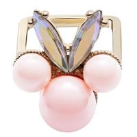 Кольца с кристаллами, цинковый сплав, с Кристаллы & Акрил, Позолоченные 24k, красочным покрытием, не содержит свинец и кадмий, 25x22mm, размер:6-9, 3ПК/сумка, продается сумка