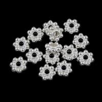 Zinklegering Sieraden Kralen, Zinc Alloy, Bloem, silver plated, lood en cadmium vrij, 6x2mm, Gat:Ca 1mm, Ca 4000pC's/KG, Verkocht door KG