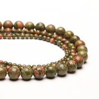 Unakite Beads, Round, different size for choice, Hole:Approx 1mm, Sold Per Approx 15 Inch Strand