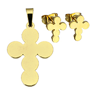 Fashion Stainless Steel Jewelry Sets, pendant & earring, Cross, gold color plated, 17x24x1mm, 8x10x12mm, Hole:Approx 3x4mm, Sold By Set