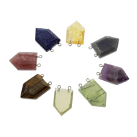 Gemstone Connector, with iron bail, plated, different materials for choice & 1/1 loop, 21x33x8mm, Hole:Approx 1.5mm, 2PCs/Bag, Sold By Bag