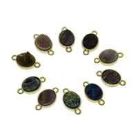 Quartz Connector, with Zinc Alloy, gold color plated, druzy style & mixed & 1/1 loop, 20x11x6mm, Hole:Approx 1mm, 2PCs/Bag, Sold By Bag