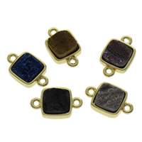 Quartz Connector, with Zinc Alloy, gold color plated, druzy style & mixed & 1/1 loop, 19x11x5mm, Hole:Approx 1mm, 2PCs/Bag, Sold By Bag