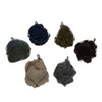 Подвески из кварца, Природный кварцевый, с Латунь, Другое покрытие, Много цветов для выбора, 41x59x21-37x56x21mm, отверстие:Приблизительно 5mm, 2ПК/сумка, продается сумка
