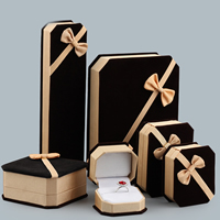 Velveteen Jewelry Set Box, with Glue Film & Grosgrain Ribbon, different styles for choice, 10PCs/Lot, Sold By Lot