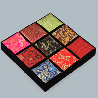 Velveteen Bracelet Box, with Glue Film & Satin, Square, different designs for choice, 90x90x45mm, 10PCs/Lot, Sold By Lot