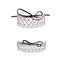 Fashion Choker Necklace, Zinc Alloy, with Satin Ribbon, with 28.5 lnch extender chain, plated, adjustable & for woman & with rhinestone, more colors for choice, nickel, lead & cadmium free, 23x45mm, Sold Per Approx 9.05 Inch Strand
