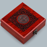 Wood Bracelet Box, with Zinc Alloy, Square, plumbum black color plated, hollow, 128x128x46mm, 3PCs/Lot, Sold By Lot