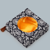 Cardboard Bracelet Box, with Satin & Nylon Cord, Square, with flower pattern, 130x130x45mm, 10PCs/Lot, Sold By Lot