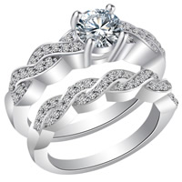 Пара кольца перста, Латунь, покрытый платиной, разный размер для выбора & для пара & с кубическим цирконием, не содержит свинец и кадмий, 17-20mm, 3Пары/сумка, продается сумка
