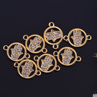 Hamsa Zinc Alloy Connector, gold color plated, with rhinestone & 1/1 loop, lead & cadmium free, 19.5x2.5mm, Hole:Approx 1mm, 10PCs/Bag, Sold By Bag