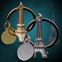 Key Chain, Zinc Alloy, with iron ring, Eiffel Tower, plated, more colors for choice, lead & cadmium free, 77x77mm, Hole:Approx 32mm, Sold By Strand