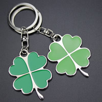 Key Chain, Zinc Alloy, with iron ring, Four Leaf Clover, platinum color plated, enamel, more colors for choice, lead & cadmium free, 40x32mm, Hole:Approx 32mm, Sold By Strand