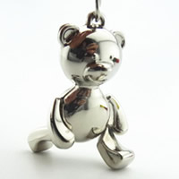 Key Chain, Zinc Alloy, with iron ring, Bear, platinum color plated, lead & cadmium free, 45x30x10mm, Hole:Approx 32mm, Sold By PC