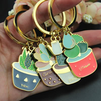 Key Chain, Zinc Alloy, with iron ring, plant pot, gold color plated, different styles for choice & with letter pattern & enamel, more colors for choice, lead & cadmium free, 71x31mm-75x33mm, Hole:Approx 32mm, 10Strands/Bag, Sold By Bag