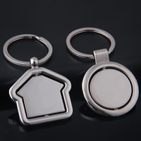 Key Chain, Zinc Alloy, with iron ring, platinum color plated, different styles for choice, lead & cadmium free, 70x41mm, Hole:Approx 32mm, Sold By Strand