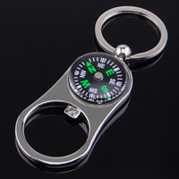 Key Chain Zinc Alloy with iron ring Compass platinum color plated with bottle opener   with letter pattern lead   cadmium free 70x35mm Hole:Approx 32mm