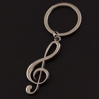 Key Chain Zinc Alloy with iron ring Music Note platinum color plated lead   cadmium free 88x20mm Hole:Approx 32mm 10Strands/Bag