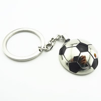 Key Chain Zinc Alloy with iron ring Football platinum color plated enamel lead   cadmium free 37.50x32.50x12mm Hole:Approx 32mm