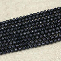 Natural Black Stone Beads, Round, imitation agate & different size for choice & faceted, Length:Approx 15 Inch, Approx 3Strands/Bag, Sold By Bag
