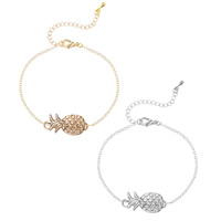 Zinc Alloy Bracelet with iron chain with 5cm extender chain Pineapple plated oval chain   for woman lead   cadmium free 20cm Sold Per Approx 7 Inch Strand
