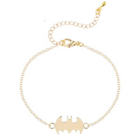 Zinc Alloy Bracelet with iron chain with 5cm extender chain Bat gold color plated oval chain   for woman lead   cadmium free 20cm Sold Per Approx 7 Inch Strand