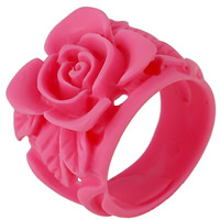 Resin Finger Ring Rose for woman Lt Rose 17mm US Ring Size:9