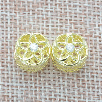 925 Sterling Silver European Beads, Flower, real gold plated, without troll & with cubic zirconia & hollow, Hole:Approx 4.5-5mm, Sold By PC