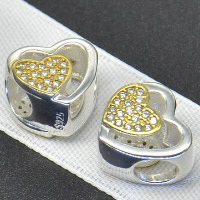 925 Sterling Silver European Beads Heart plated without troll   with cubic zirconia   hollow Hole:Approx 4.5-5mm