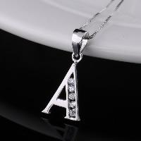 Кулоны из серебра, Серебро 925 пробы, Буква A, с кубическим цирконием, отверстие:Приблизительно 4x7mm, продается PC