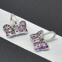 Thailand Sterling Silver European Pendant, Bowknot, without troll & with cubic zirconia, Hole:Approx 4.5-5mm, Sold By PC