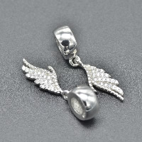 Thailand Sterling Silver European Pendant, Wing Shape, without troll & with cubic zirconia, Hole:Approx 4.5-5mm, Sold By PC
